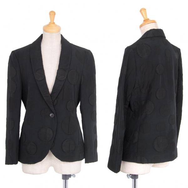 イッセイミヤケISSEY MIYAKE 混紡ショールカラードットジャケット 黒2【中古】 【レディース】