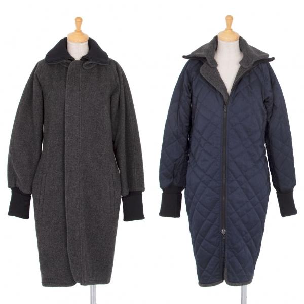 ワイズY's シンサレート中綿キルトリバーシブルジップウールコート グレー紺1【中古】 【レディース】