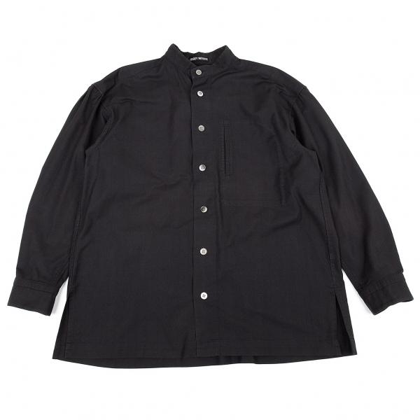 イッセイミヤケ メンISSEY MIYAKE MEN コットンスタンドカラーシャツ 濃紺M【中古】 【メンズ】