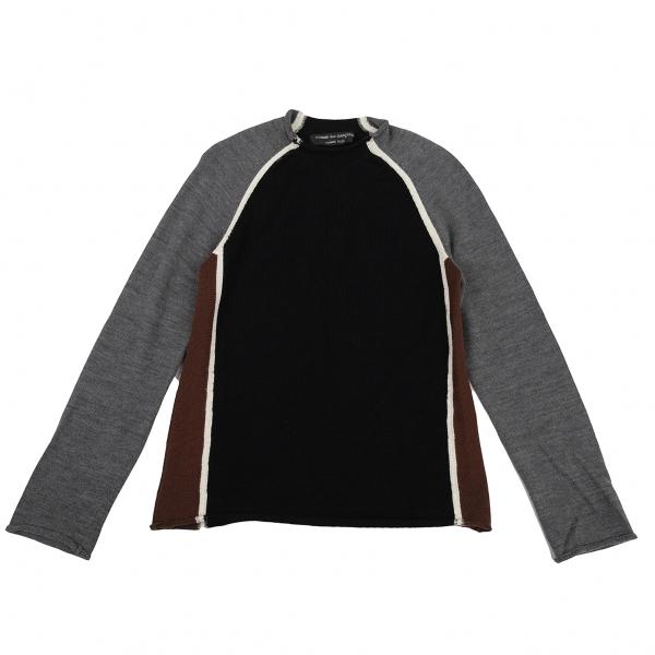 コムデギャルソン オムプリュスCOMME des GARCONS HOMME PLUS カラー切替デザインニットセーター 黒茶グレーL位【中古】 【メンズ】