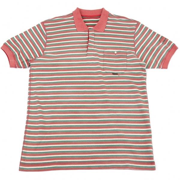 パパスPapas 鹿の子オルタネイトボーダー脱色デザインポロシャツ 赤緑他50L【中古】 【メンズ】