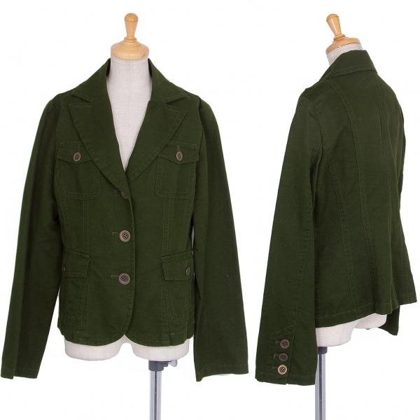 レキップヨシエイナバL'EQUIPE YOSHIE INABA コットンリネンポケットジャケット 深緑40【中古】 【レディース】