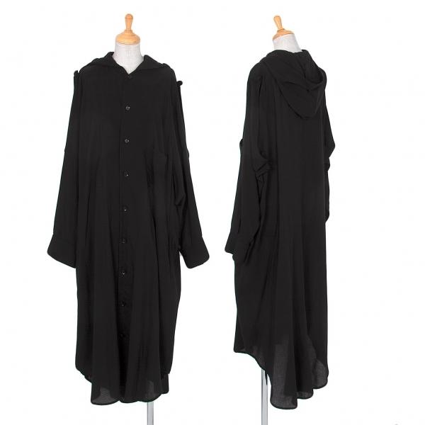 ヨウジヤマモト ノアールYohji Yamamoto NOIR テンセルビッグシルエットフーデッドシャツ 黒1【中古】 【レディース】