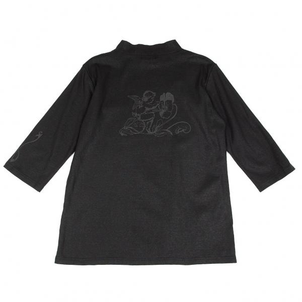 ヨウジヤマモト ダーバンYohji Yamamoto DURBAN A.A.R エンジェルコーティングプリントハイネック七分袖Tシャツ 黒L【中古】 【メンズ】