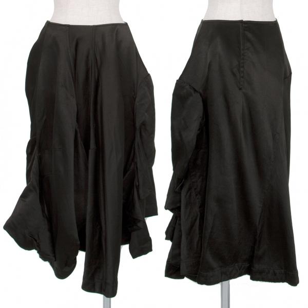 コムデギャルソンCOMME des GARCONS 製品染めエステルサテン袖付き変形スカート 黒S【中古】 【レディース】