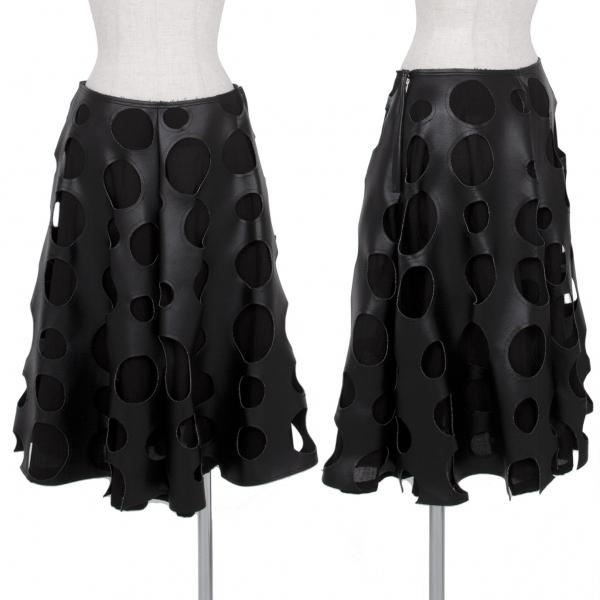コムデギャルソンCOMME des GARCONS パンチングシンセティックレザースカート 黒XS【中古】 【レディース】
