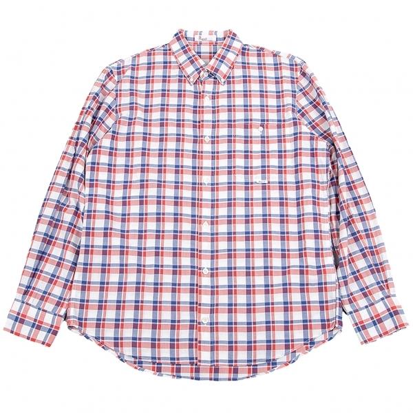 パパスPapas コットンボタンダウンチェックシャツ 白赤青46S【中古】 【メンズ】