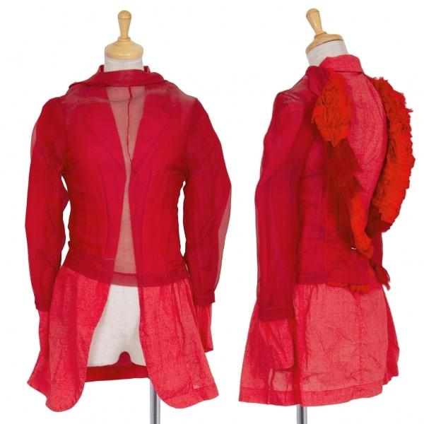 コムデギャルソンCOMME des GARCONS 製品染め前後反転レイヤードデザインジャケット 赤S【中古】 【レディース】