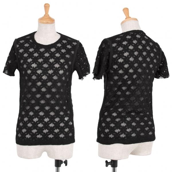コムデギャルソンCOMME des GARCONS フラワーレースTシャツ 黒M位【中古】 【レディース】