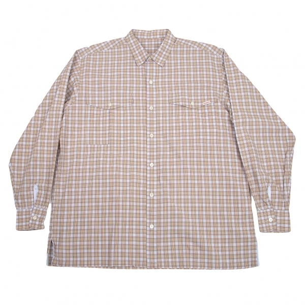 パパスPapas オーバーチェックフラップポケットシャツ 水色モカM【中古】 【メンズ】