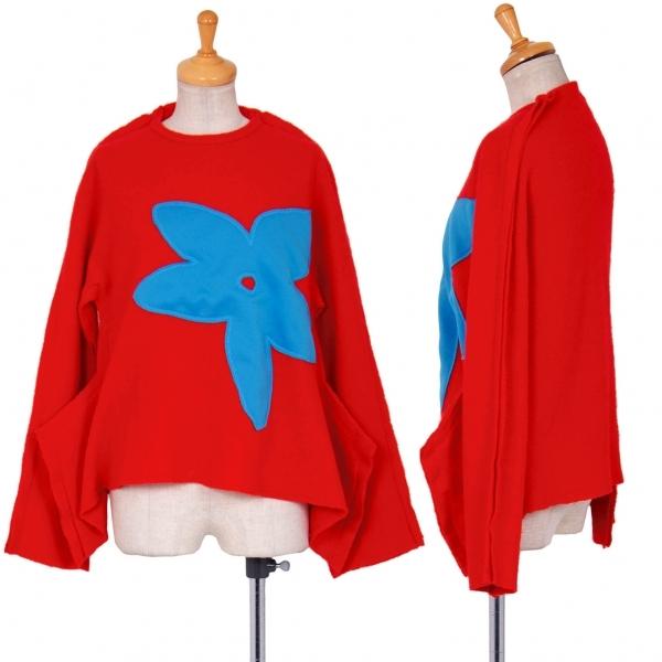 コムデギャルソンCOMME des GARCONS 縮絨フラワー貼り付け二次元ニットセーター 赤水色S【中古】 【レディース】