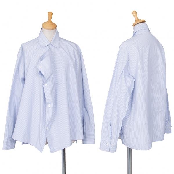 ワイズY's ストライプ前立ドレープデザインシャツ 青白4【中古】 【レディース】