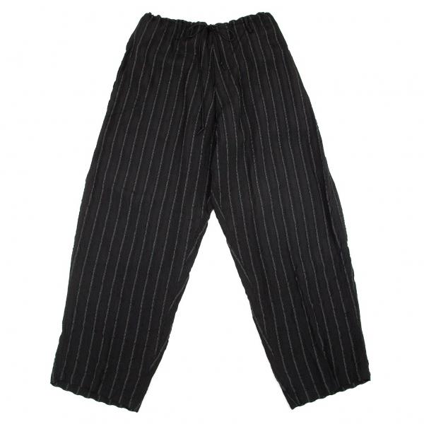 ワイズフォーメンY's for men レーヨン紐ウエストストライプワイドパンツ 黒L位【中古】 【メンズ】