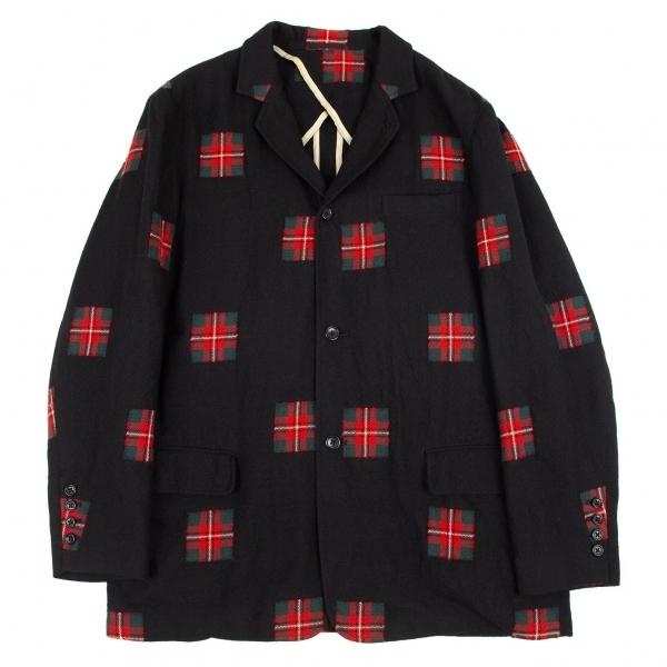 ワイズフォーメンY's for men タータンチェックパッチ織りウールジャケット 黒他4【中古】 【メンズ】