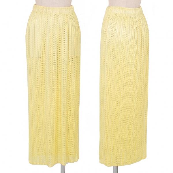プリーツプリーズPLEATS PLEASE パンチングロングスカート 黄3【中古】 【レディース】