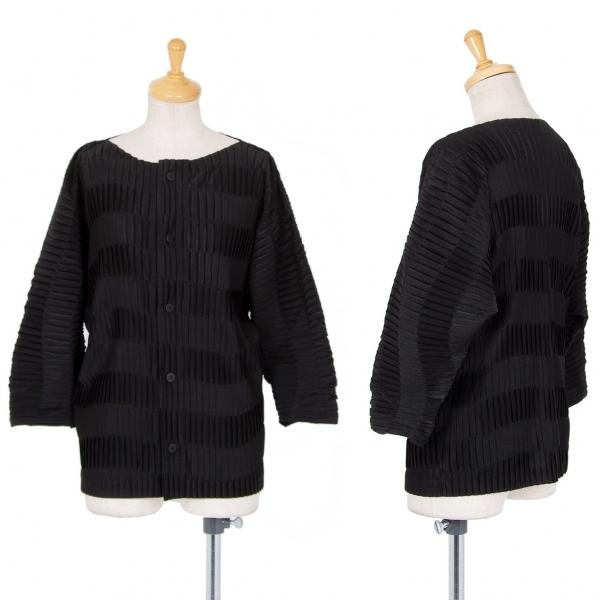 イッセイミヤケISSEY MIYAKE ノーカラードルマンプリーツシャツ 黒2【中古】 【レディース】