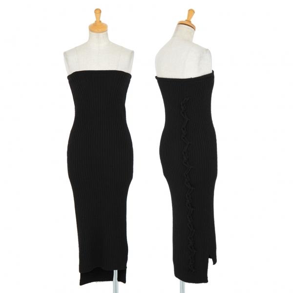 ヨウジヤマモト ファムYohji Yamamoto FEMME サイドローブ装飾ロングリブニットチューブドレス 黒2【中古】 【レディース】