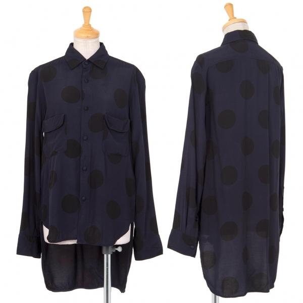 ワイズY's レーヨンドットプリントバックロングシャツ 紺黒2【中古】 【レディース】