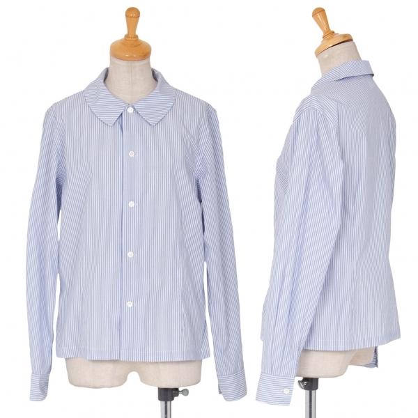 コムコム コムデギャルソンCOMME des GARCONS ストライプステンカラーシャツ 白水色S【中古】 【レディース】