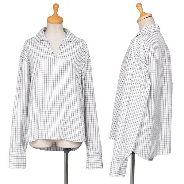 ワイズY's グリッドチェックスキッパーシャツ 白黒3【中古】 【レディース】