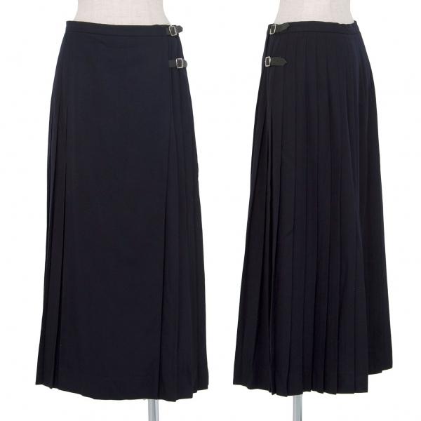 バーバリーズBurberrys' ウールプリーツラップスカート 紺42【中古】 【レディース】