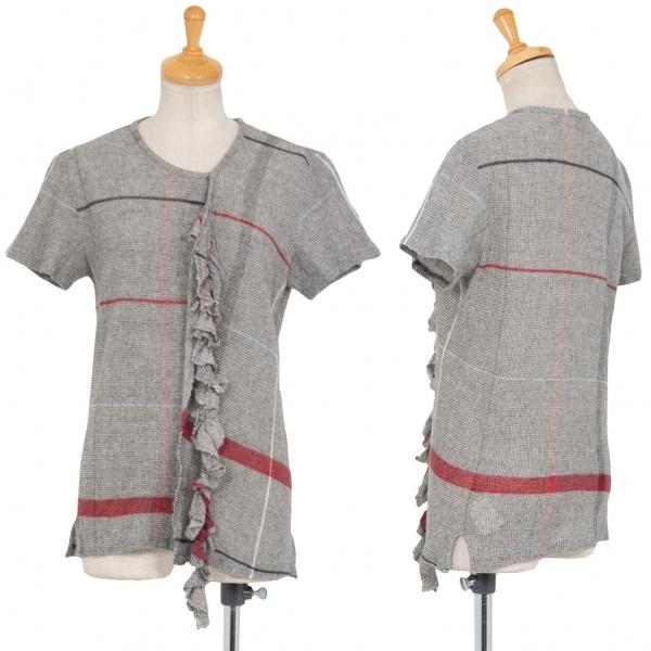 ワイズY's コットンリネンフロント切替フリル装飾ニットTシャツ グレー3【中古】 【レディース】
