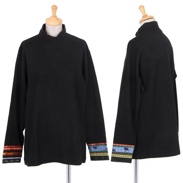 ワイズY's ウール袖テープ装飾ハイネックカットソー 黒L位【中古】 【レディース】