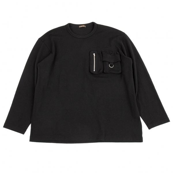 ワイズフォーメンY's for men ウールポケットデザインニットソー ふるさと割 メンズ トレンド 中古 黒L位