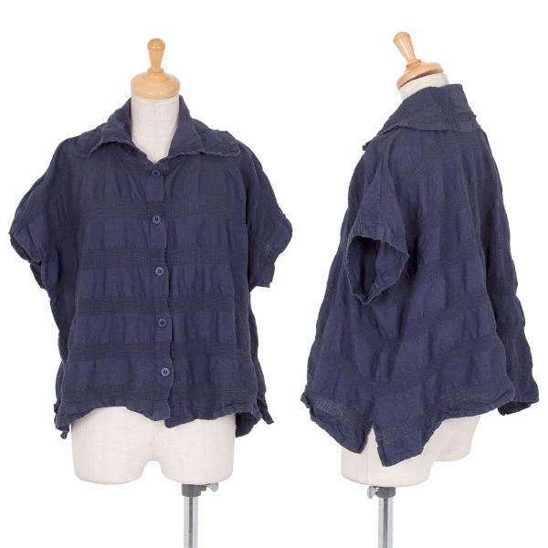 イッセイミヤケ ミーISSEY MIYAKE me シャーリングボーダーシャツ 紺M位【中古】 【レディース】