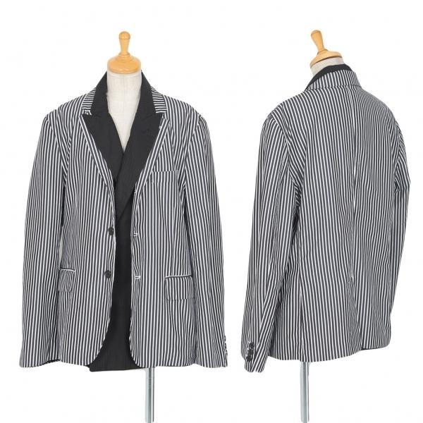 コムデギャルソンCOMME des GARCONS ストライプレイヤードジャケット 黒白M【中古】 【レディース】