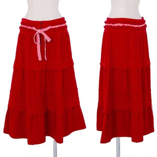 トリコ コムデギャルソンtricot COMME des GARCONS ウール製品染めフリル切替スカート 赤M【中古】 【レディース】