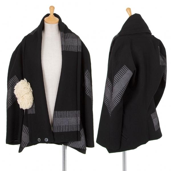 ヨウジヤマモト ファムYohji Yamamoto FEMME ステッチ刺繍ポンポン装飾ジャケット 黒M【中古】 【レディース】