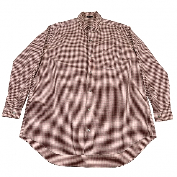 ワイズフォーメンY's for men ウールギンガムチェックシャツ エンジ生成りL位【中古】 【メンズ】