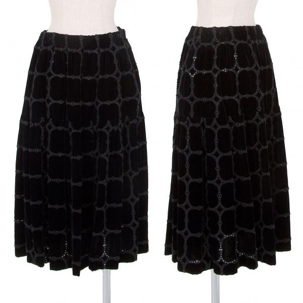 コムコム コムデギャルソンCOMME des GARCONS ベロア刺繍継ぎスカート 黒M【中古】 【レディース】