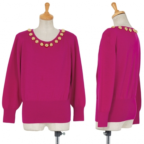新品!イヴサンローランYves Saint Laurent スタッズ装飾セーター 紫M【中古】 【レディース】