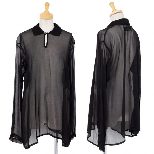 トリココムデギャルソンtricot COMME des GARCONS シフォン長袖ポロシャツ 黒M位【中古】 【レディース】