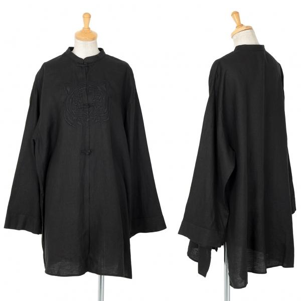 クリツィアKRIZIA 虎刺繍チャイナリネンシャツ 黒44(M)【中古】 【レディース】
