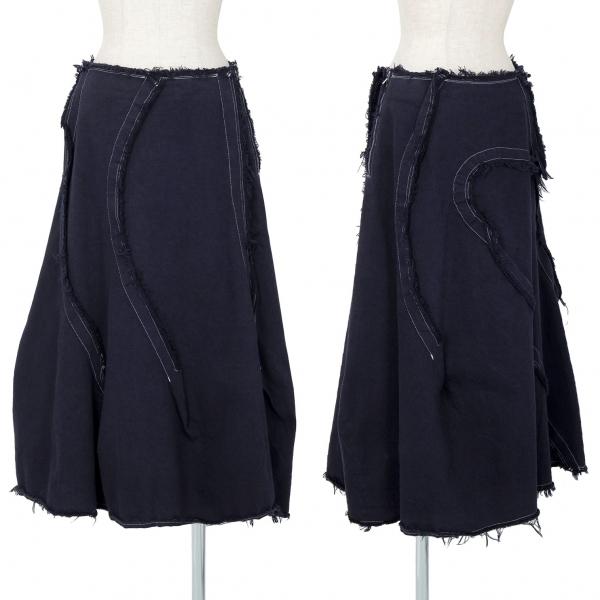 コムデギャルソンCOMME des GARCONS 製品染めコットンカーブ切替スカート 紺M【中古】 【レディース】