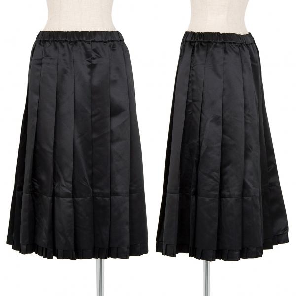 コムコム コムデギャルソンCOMME des GARCONS レイヤード光沢プリーツスカート 黒S【中古】 【レディース】
