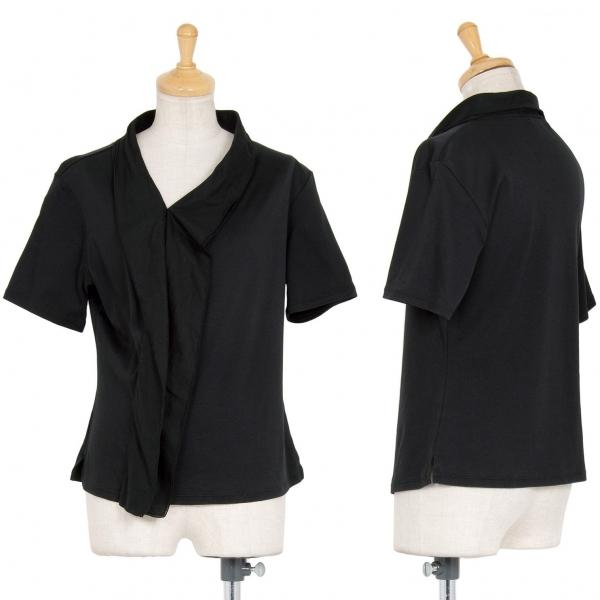 イッセイミヤケISSEY MIYAKE フロントフリル切替Tシャツ 黒2【中古】 【レディース】