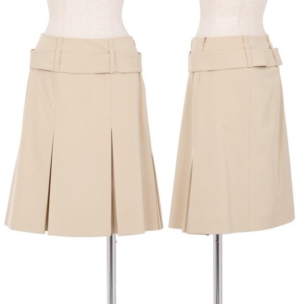 プラダPRADA ポリストレッチベルテッドプリーツスカート 買い取り 数量は多 ベージュ38 中古 レディース