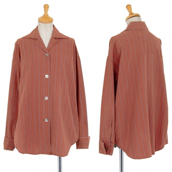 ジジリgigli オルタネイトストライプオープンカラーシャツ レンガ38(M)【中古】 【レディース】
