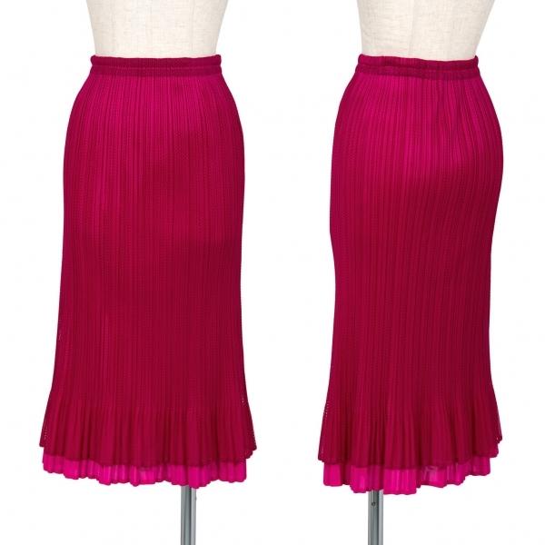 プリーツプリーズPLEATS PLEASE プリーツメッシュレイヤードスカート 最新号掲載アイテム 紫3 レディース 中古 メーカー在庫限り品