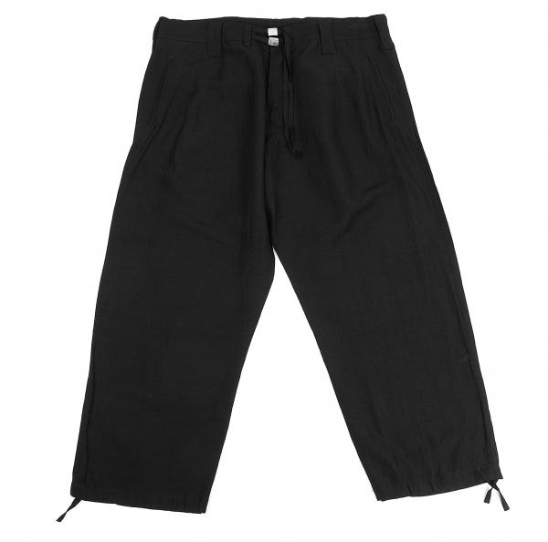ヨウジヤマモト プールオムYohji Yamamoto POUR HOMME ウエストクリップレーヨンリネン裾紐パンツ 黒3【中古】 【メンズ】