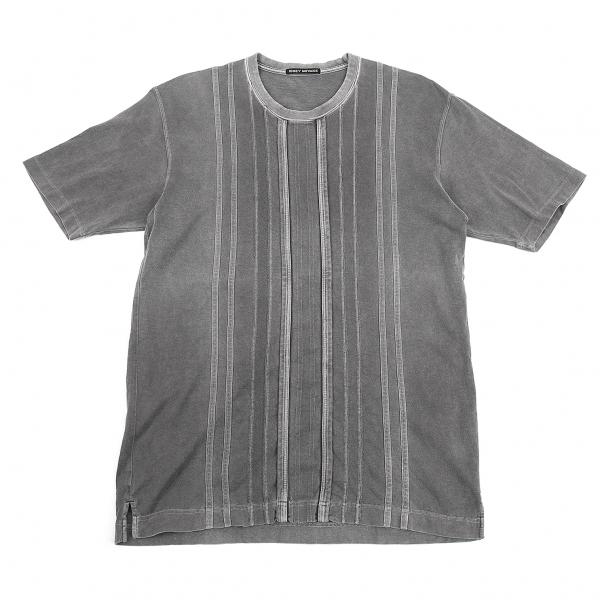 イッセイミヤケ アウトレット メンISSEY 爆安 MIYAKE MEN メンズ グレー2 製品染めストライプ切替Tシャツ 中古