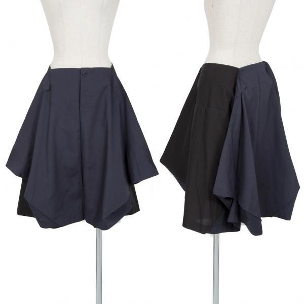 イッセイミヤケISSEY MIYAKE 132 5. バイカラー切替デザインスカート レディース チャコール黒3 中古 送料無料お手入れ要らず 日本製
