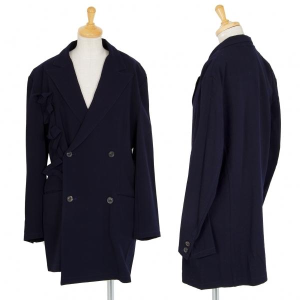 ワイズY's 超歓迎された ウールテープ装飾デザインジャケット クリアランスsale!期間限定! 紺M位 レディース 中古
