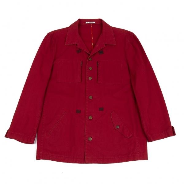 パパスPapas <セール&特集> コットンポケットデザインカバーオールジャケット 赤50L 中古 メンズ 至高