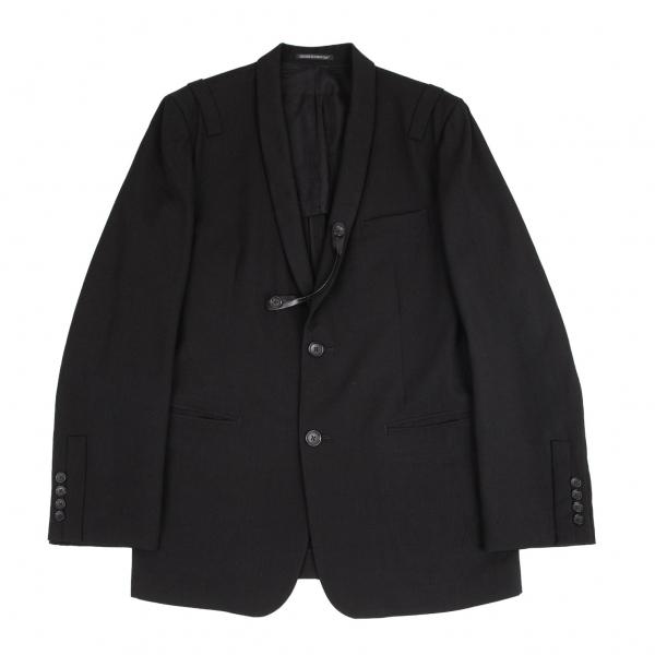ヨウジヤマモト プールオムYohji Yamamoto ◆セール特価品◆ POUR HOMME 黒4 メンズ 新品■送料無料■ 中古 レザーストラップ付きウールギャバショールラペルジャケット