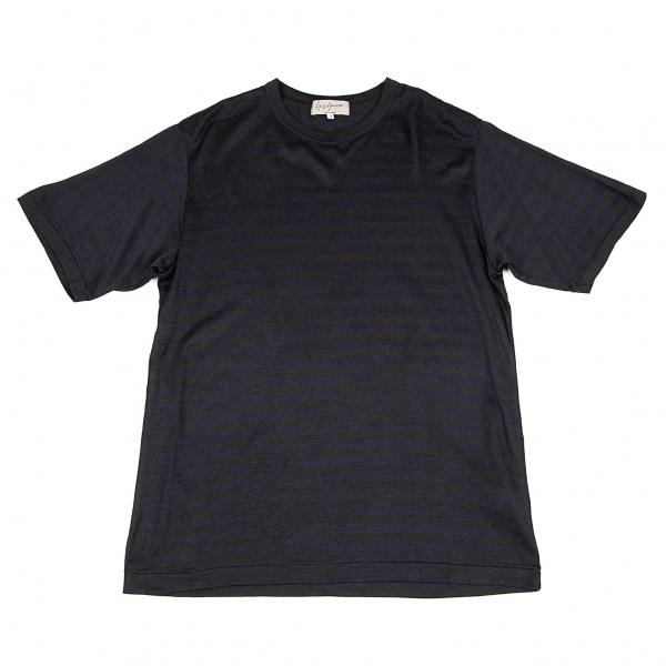 ヨウジヤマモト プールオムYohji 激安通販販売 Yamamoto POUR HOMME 超目玉 紺3 中古 シルクボーダーTシャツ メンズ